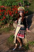 Traditionally Dressed Mhong Hill Tribe Woman In The Garden