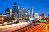 Atlanta, Georgia, USA downtown city skyline over the interstate.