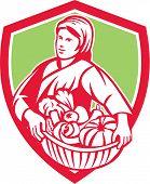 Female Organic Farmer Basket Harvest Shield Retro