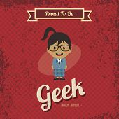 image of geek  - cartoon geek retro theme vector art illustration - JPG