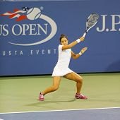 Professional tennis player Zarina Diyas during second round match at US Open 2014