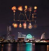 Love Sparkle Fireworks Celebrating Over Marina Bay In Yokohama City