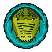 Crocodile head. Design color vector illustration.
