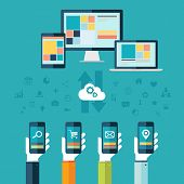 Cloud computing. Desktop computer, laptop and tablet with hands holding phones vector illustration.