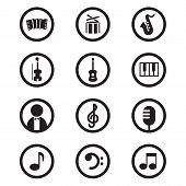 Black music icons set vector illustration.