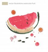 Watercolor Illustration Of Watermelon.  No Transparency. Gradients.