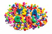 Its A Girl Word In Colorful Stone