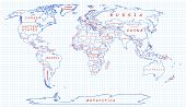 Political map of the world drawn with blue pen