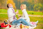 Happy Couple Relaxing Weekend On A Picnic