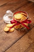 Cheese Biscuits on wooden background