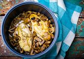picture of stew  - stewed chicken breast with mushrooms in the crock - JPG