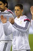 BARCELONA - MAY,11: Javier Chicharito Hernandez of Real Madrid before the Spanish Kings Cup match against UE Cornella at the Estadi Cornella on MAy 11, 2014 in Barcelona, Spain
