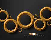modern overlapping different sizes golden rings, black background elegant design, eps10 vector