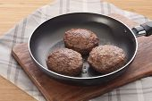 Meat Rissoles On The Frying Pan