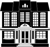 Black and white illustration of a two-storied house in classical style