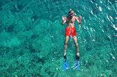 Man Snorkeling At Phi Phi Island, Phuket, Thailand
