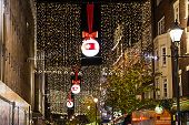 London, England - Oxford Street, decorated for Christmas and New 2015 Year