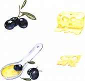 Watercolor illustration with cheese and black olives