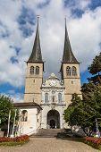 The Hof Church In Lucerne In Switzerland