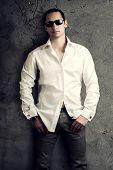 Sexy Man Wearing White Luxury Shirt