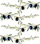 Watercolor illustration with branch with black olives. Seamless pattern
