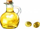 Watercolor illustration with green olives and olive oil in the bottle