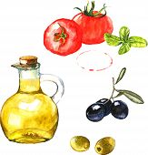Watercolor illustration with green and black olives, olive oil and tomatoes