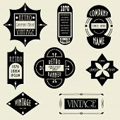 Vector set. Vintage Design Elements. Labels, banners and tags. Art deco style. Logo Elements
