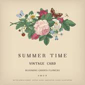 Summer vector vintage card