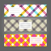 Set of Horizontal Plaid Banners. Abstract Geometric ornament. Vector Illustration.