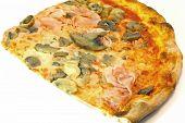 Pizza With Mozzarella Tomato Ham Mushrooms