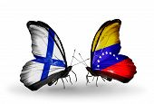 Two Butterflies With Flags On Wings As Symbol Of Relations Finland And  Venezuela