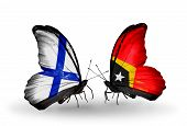 Two Butterflies With Flags On Wings As Symbol Of Relations Finland And  East Timor