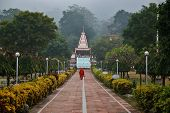 monk going to temple