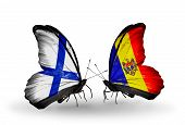 Two Butterflies With Flags On Wings As Symbol Of Relations Finland And Moldova