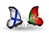 Two Butterflies With Flags On Wings As Symbol Of Relations Finland And Portugal