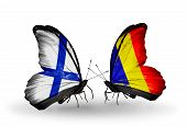 Two Butterflies With Flags On Wings As Symbol Of Relations Finland And Chad, Romania