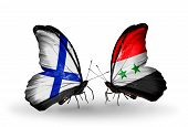 Two Butterflies With Flags On Wings As Symbol Of Relations Finland And Syria