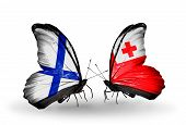 Two Butterflies With Flags On Wings As Symbol Of Relations Finland And Tonga