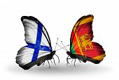 Two Butterflies With Flags On Wings As Symbol Of Relations Finland And Sri Lanka