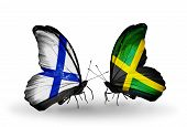 Two Butterflies With Flags On Wings As Symbol Of Relations Finland And Jamaica
