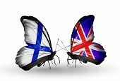 Two Butterflies With Flags On Wings As Symbol Of Relations Finland And Uk