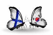 Two Butterflies With Flags On Wings As Symbol Of Relations Finland And South Korea