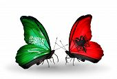 Two Butterflies With Flags On Wings As Symbol Of Relations Saudi Arabia And Albania