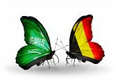 Two Butterflies With Flags On Wings As Symbol Of Relations Saudi Arabia And Belgium