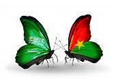 Two Butterflies With Flags On Wings As Symbol Of Relations Saudi Arabia And Burkina Faso