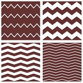 Tile chevron vector pattern set with brown and white zig zag background