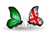 Two Butterflies With Flags On Wings As Symbol Of Relations Saudi Arabia And Georgia