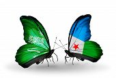 Two Butterflies With Flags On Wings As Symbol Of Relations Saudi Arabia And Djibouti