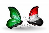 Two Butterflies With Flags On Wings As Symbol Of Relations Saudi Arabia And Yemen